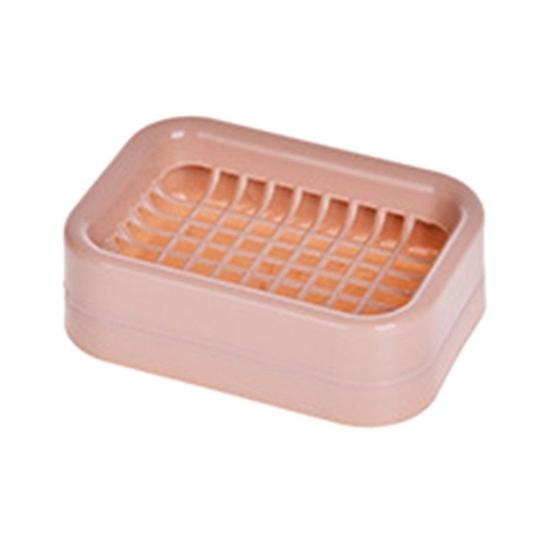 صورة حامل الصابون طبقة مزدوجة  من البلاستيك للحمام  غير قابلة للانزلاق