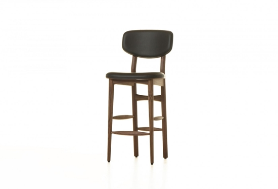 Picture of Leather Stool with Wooden Legs - 45 x 42 x 105 Cm