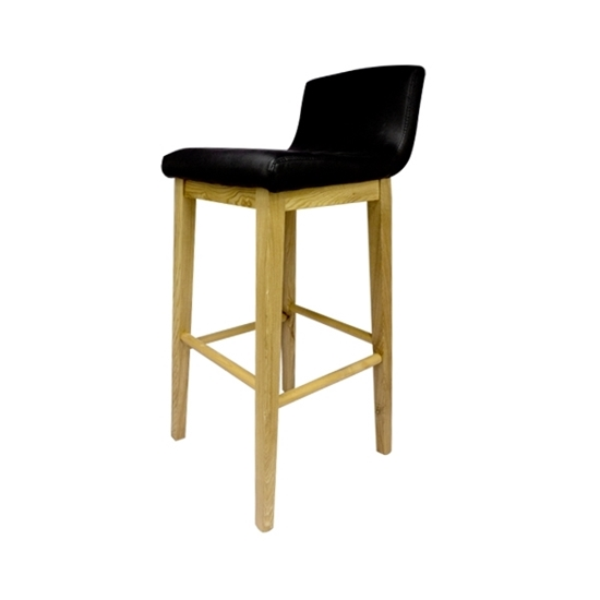 Picture of Leather Stool with Wooden Legs - 41 x 47 x 98 Cm
