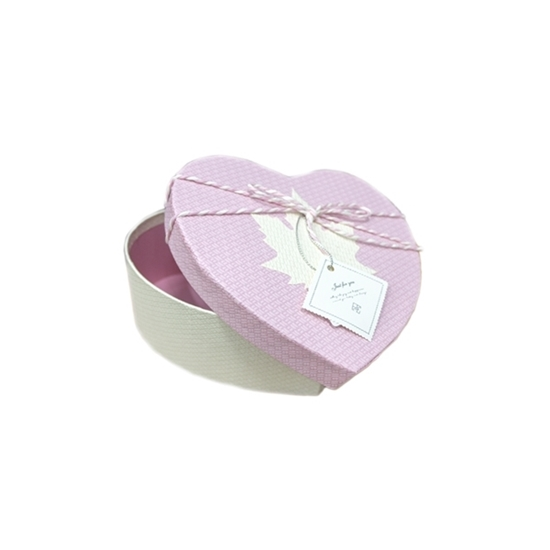 Picture of PINK & WHITE HEART BOX - CM 16 x 15 x 6cm