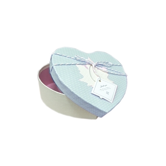 صورة BLUE & WHITE HEART BOX - CM 16 x 15 x 6cm