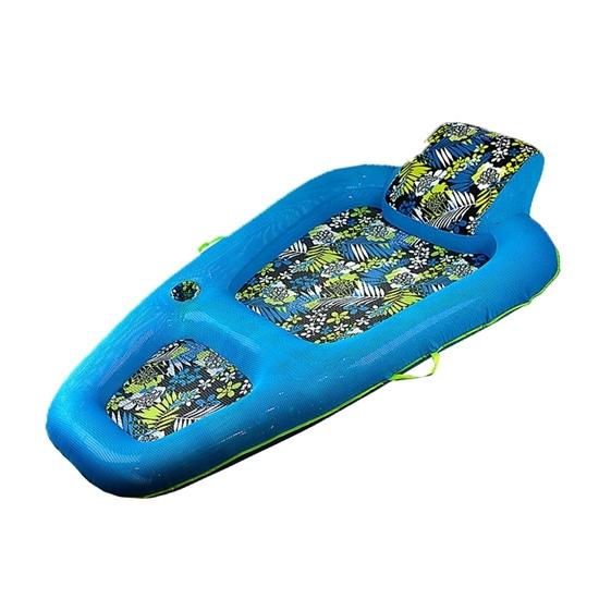 صورة Aqua Luxury Water Lounge, X-Large, Inflatable Pool Float with Headrest/Backrest & Footrest, Navy