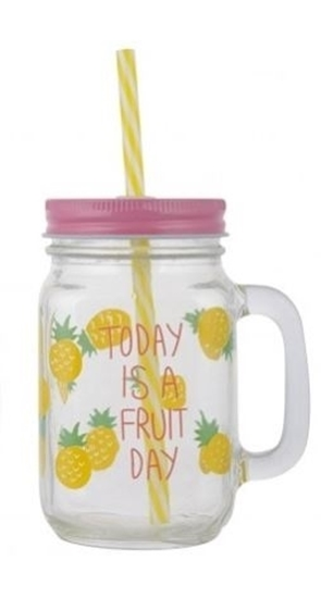 Picture of Fruit Printing Glass Mason Jar Mug - 13 x 8 Cm