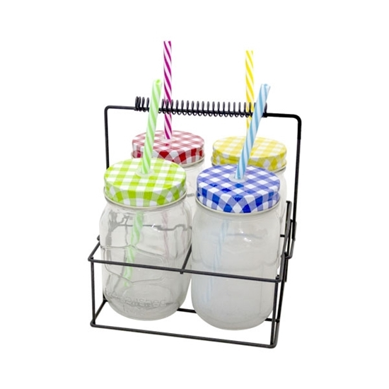 صورة GLASS JAR WITH STRAW 450ML - 19 x 14 Cm