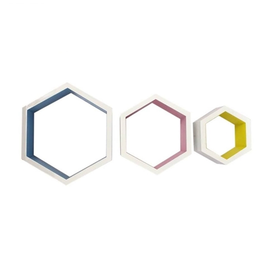 Picture of Decorative MDF Colored Hexagon Shape Wall Shelf Set Of 3 - 32 Cm