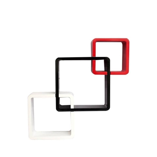 Picture of Decorative MDF Colored Modular Square Shape Wall Shelf Set Of 3 - 27 x 27 x 10 Cm