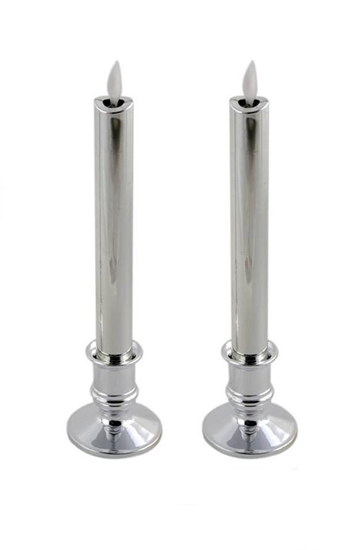 Picture of Silver LED Taper Candle - 25 Cm