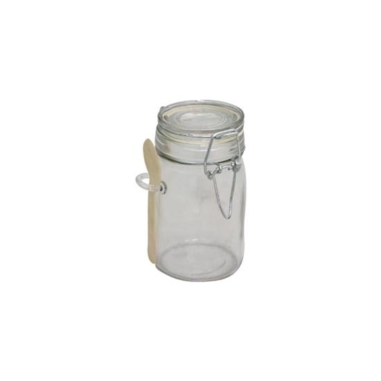 صورة GLASS JAR WITH SPOON 240ML - 11 x 6 Cm