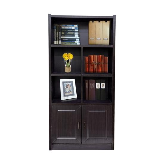 صورة Brown - Book Shelves With 2 Cabinets - 80W x 28L x 190H Cm