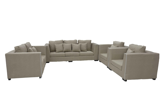 Picture of SOFA SET LIGHT BEIGE THREE SEATS - 210 x 80 x 70 Cm  + TWO SEATS - 157 x 80 x 70 Cm  + 2 SINGLE SEATS - 105 x 80 x 70 Cm