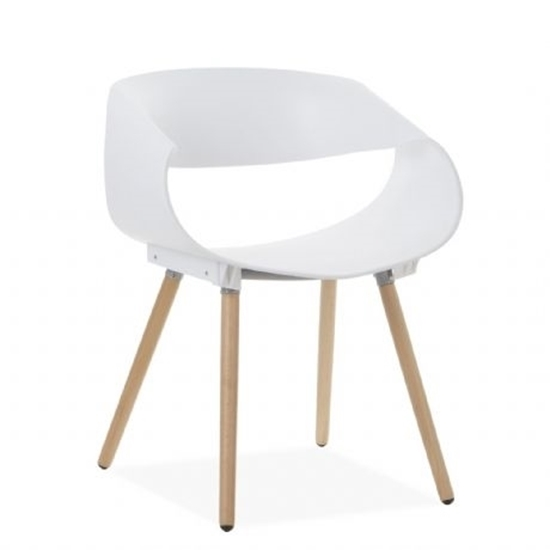 Picture of Modern Plastic Wooden Legs Chair - 58 x 44 x 77 Cm