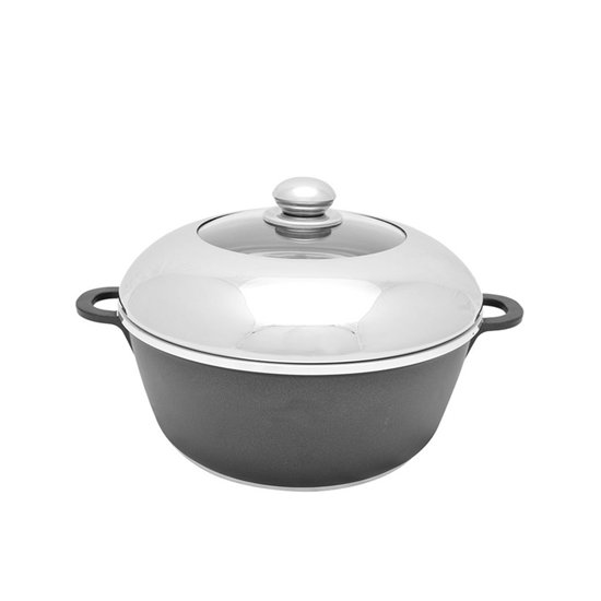 Picture of Black - Steel & Ceramic Cooking Pot with Lid - 24 Cm