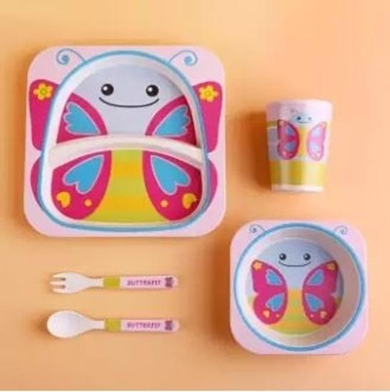 صورة مجموعة أدوات المائدة للأطفال من الخيزران