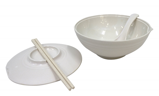 Picture of White Bamboo Bowl - 18 x 9 Cm