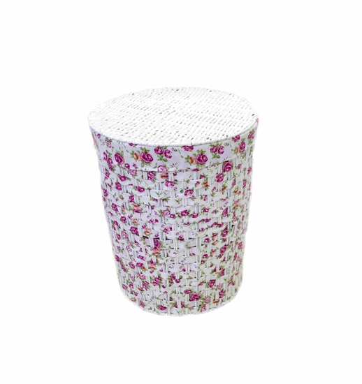 Picture of Floral Laundry Basket with Cover - 40 x 32 Cm