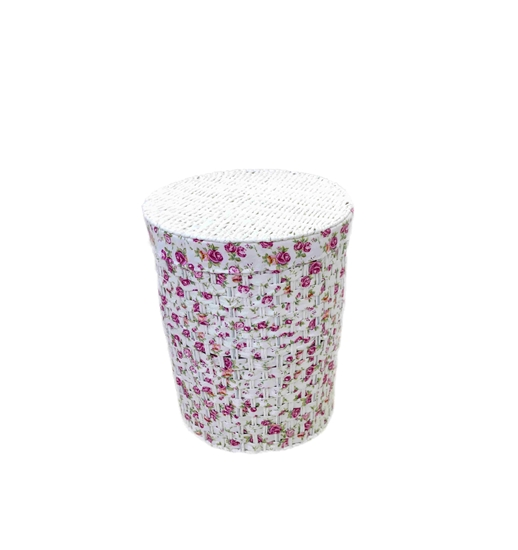 Picture of Floral Laundry Basket with Cover - 45 x 37 Cm