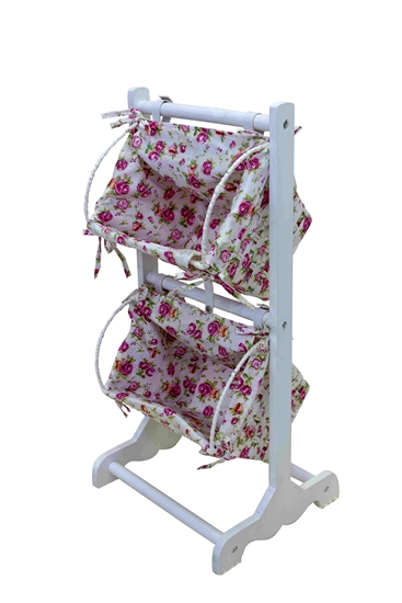 Picture of Floral Laundry Basket 2 Levels with Cover - 77 x 35 x 32 Cm
