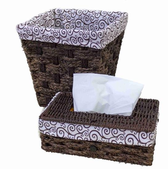 صورة Brown Basket & Tissue Box -  24 x 21 x 24 Cm