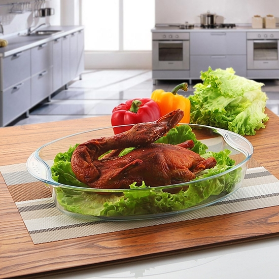 Picture of Oval Tempered Glass Bakeware - 35 x 24 x 6.5 Cm