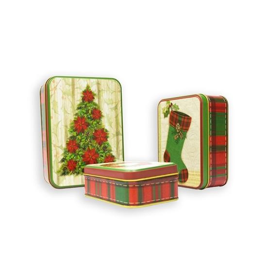 صورة Christmas Candy Tin Box 3 Pcs - 12/ 14/ 18 Cm