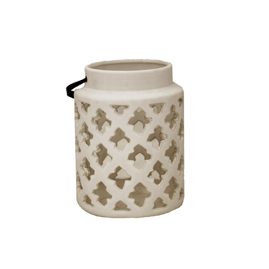 Picture of Ceramic Candle Holder with Handle - 13 x 17 Cm