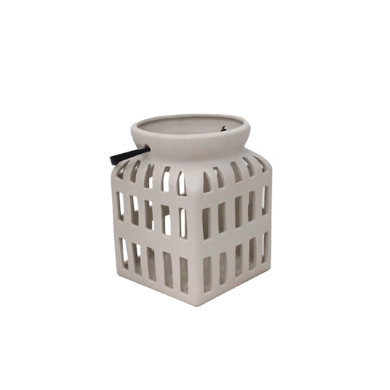 Picture of Ceramic Candle Holder with Handle -  12 x 16 Cm