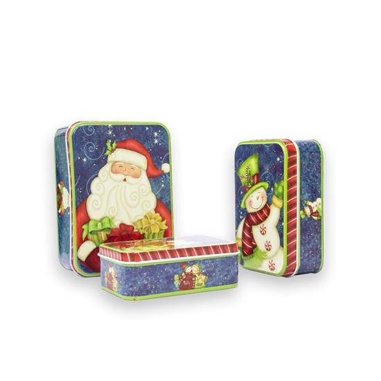 صورة Christmas Candy Tin Box 3 Pcs - 10/ 12/ 14 Cm