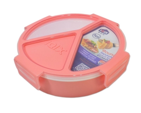 Picture of Leak Proof 3 Compartment Circle Shape Lunch Box - 20 x 5 Cm
