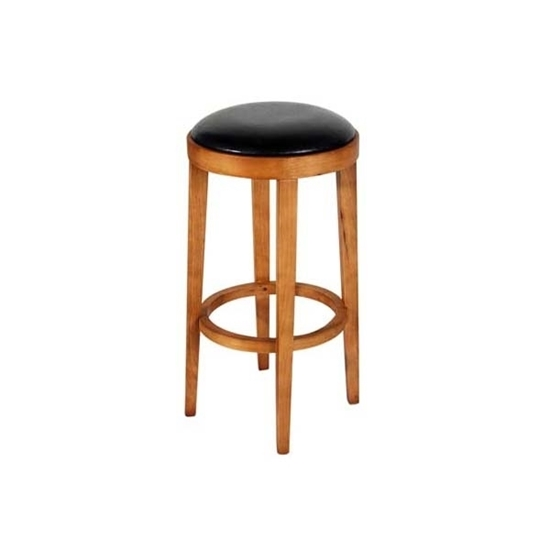 Picture of Leather Stool with Wooden Legs - 44 x 74 Cm