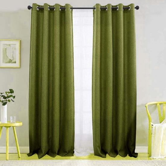 صورة ستائر للنوافذ من الكتان باللون الأخضر الداكن  قياس 140 × 280 سم