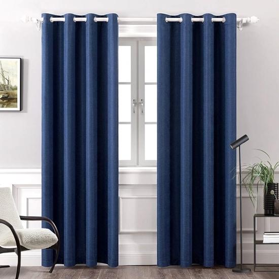 صورة ستائر للنوافذ من الكتان باللون الأزرق الداكن  قياس 140 × 280 سم
