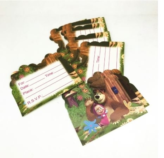 Picture of Invitation Cards MASHA AND THE BEAR 10 PCs - 14 x 11 Cm