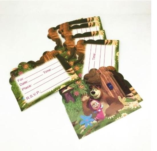 صورة Invitation Cards MASHA AND THE BEAR 10 PCs - 14 x 11 Cm