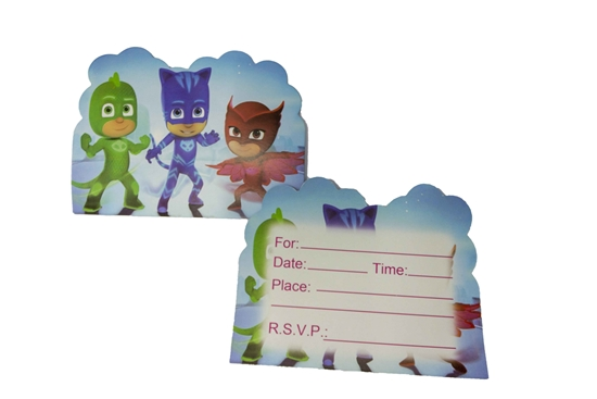 صورة Invitation Cards PJ MASK 10 PCs - 14 x 11 Cm