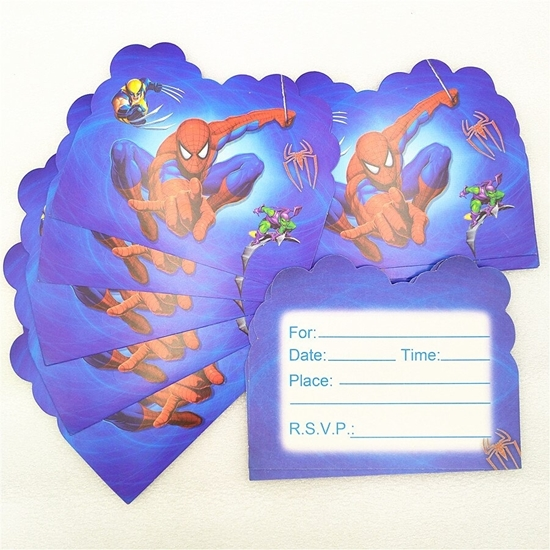Picture of Invitation Cards SPIDERMAN 10 PCs - 14 x 11 Cm