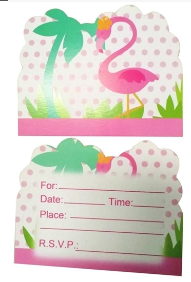 Picture of Invitation Cards FLAMINGO 10 PCs - 14 x 11 Cm