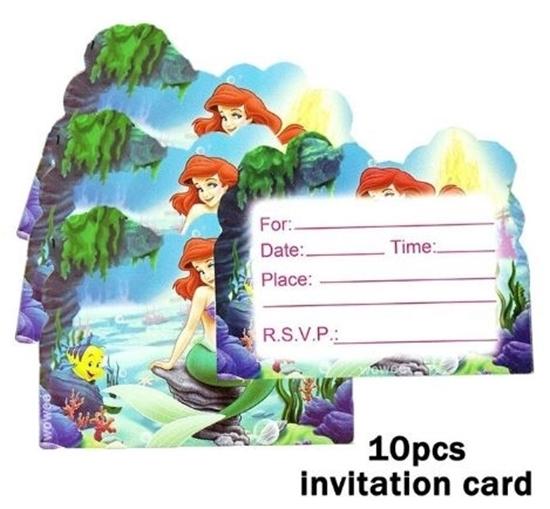 صورة Invitation Cards MERMAID 10 PCs - 14 x 11 Cm
