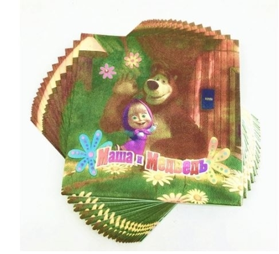 صورة Napkins MASHA AND THE BEAR 20 PCS - 16.4 x 16.4 Cm
