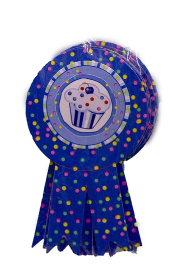 Picture of Party Badge BLUE CUPCAKE 10 PCS - 15.5 x 9 Cm