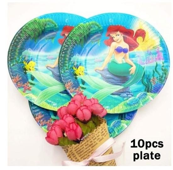 صورة Paper Plate MERMAID 10 PCs - 23 Cm