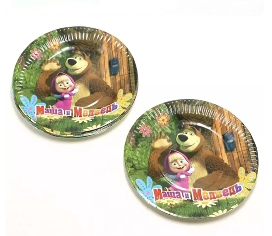 صورة Paper Plate MASHA AND THE BEAR 10 PCs - 23 Cm