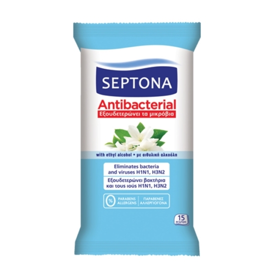 Picture of Septona - Antibacterial Wipes Jasmine - 15 PCs