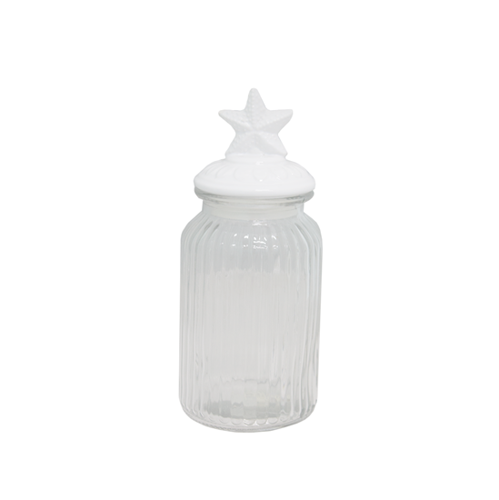 Picture of Food Glass Jar  with Ceramic Lid - 9.5 x 18 Cm
