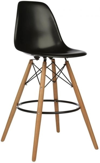 صورة Plastic Chair with Wooden Legs