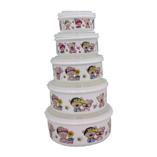 Picture of Tupperware Printed Touch Plastic, Food Storage Set (5-Piece)