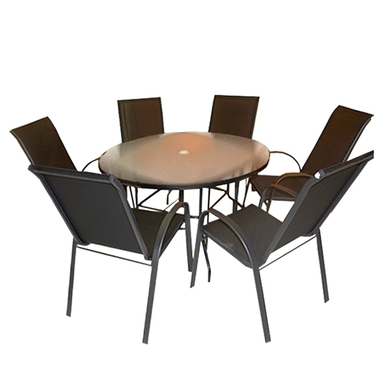 Picture of Black Circle Outdoor Table, (1+6) - 120 Cm
