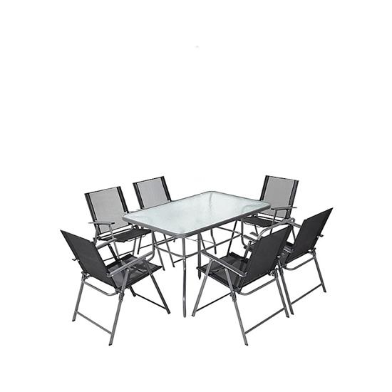صورة Black Outdoor Table & Chai, (1+6) - 150 x 90 Cm