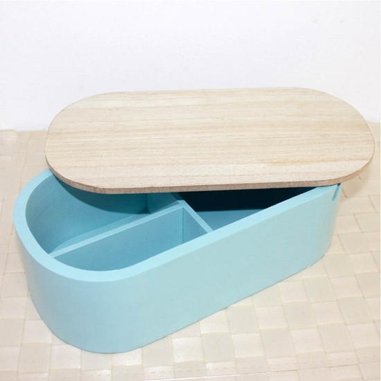 Picture of Jewelry Box with Mirror, Blue - 25 x 13 x 8 Cm