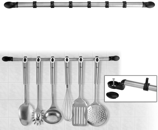 صورة Wall-mounted stainless steel utensil holder - 55.5 x 2 Cm