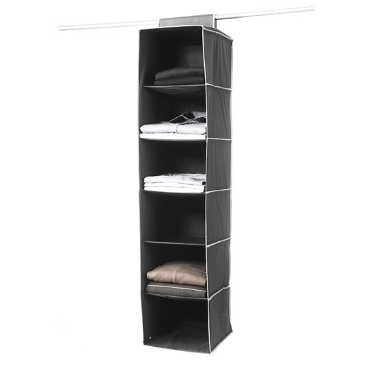 صورة Black Fabric Hanging Shelf - 28 x 28 x 120 Cm